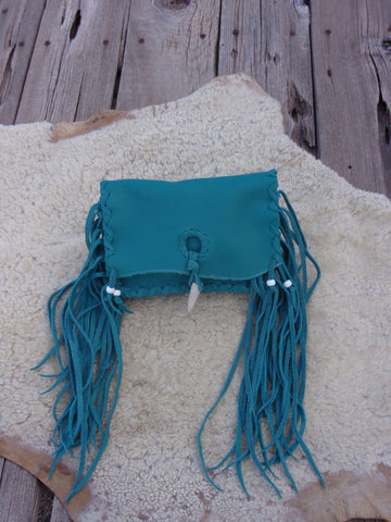 Fringed leather clutch, turquoise leather clutch, leather handbag