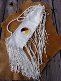 Beaded flute bag, four directions beadwork, fringed leather flute bag