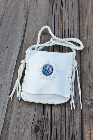 Beaded crossbody bag, white leather bag