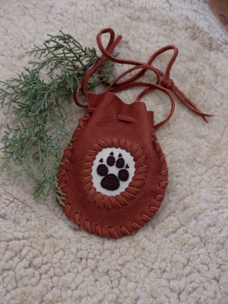 Wolf totem amulet bag , wolf paw medicine bag, spirit totem bag, crystal pouch, buffalo leather