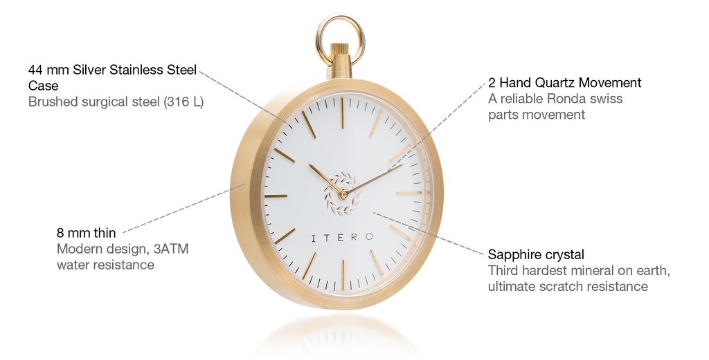 Midas white modern pocket watch specifications