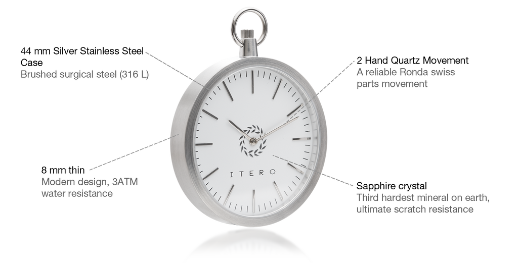 Platinum white modern pocket watch specifications