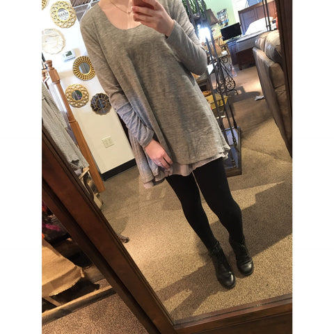 Grey Tunic with Ruffle Trim