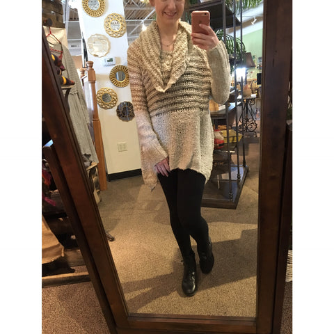 Cream and taupe striped sweater