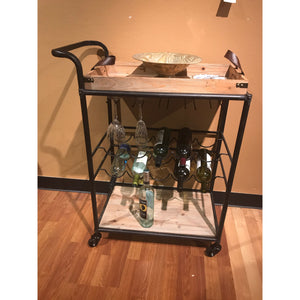 Reclaimed Wood & Metal Wine Cart