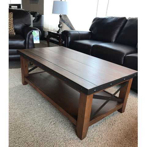 Rustic Coffee Table with Metal Accents