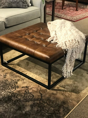 Square Metal & Leather Ottoman