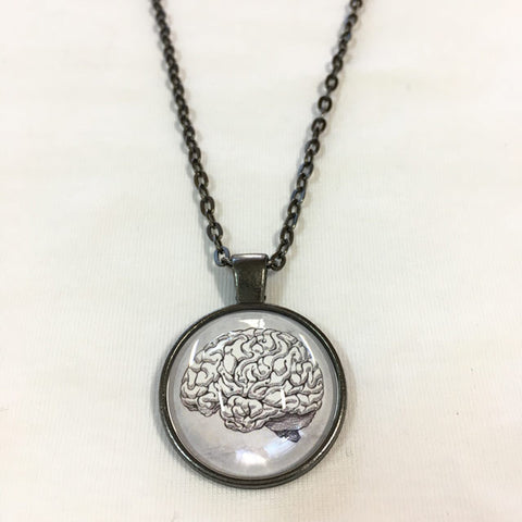 Handmade Necklace - Brain in White