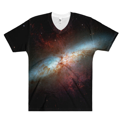 Men's V-Neck T-Shirt - Starburst Galaxy M82
