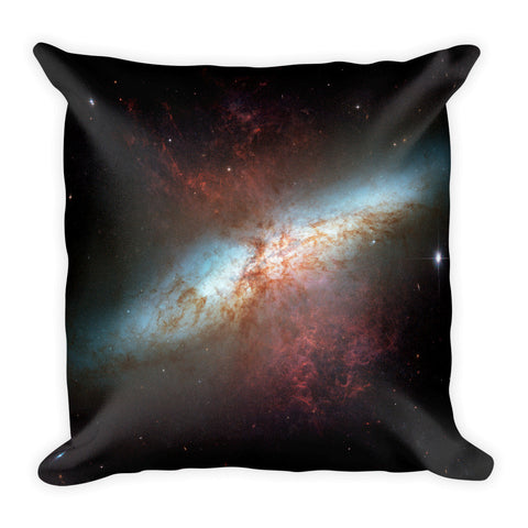 Square Galaxy Pillow - Starburst Galaxy M82