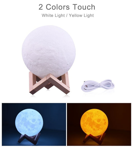 3D Moon lamp night light 2-3-16 Colors