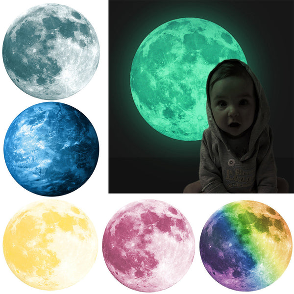30cm 3D Large Moon Fluorescent Wall Sticker Glow In The Dark Sticker