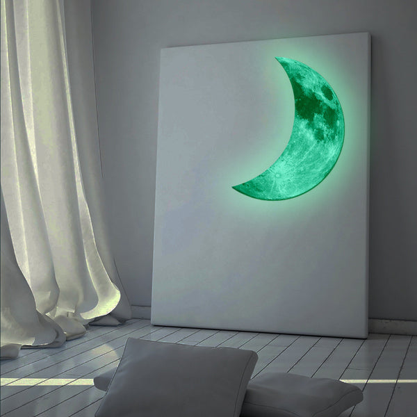 3D Luminous Large Moon Fluorescent Wall Sticker Removable Glow In The Dark Sticker