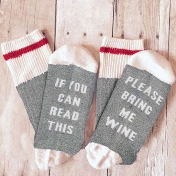 "Funny Socks ""If You Can Read This Bring Me A Glass Of Wine"" Socks For Women and Men"