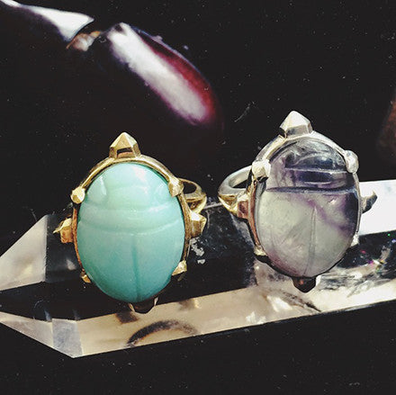 Crystal Scarab Ring