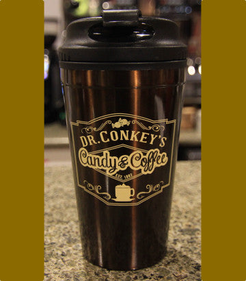 Dr Conkey's Brown Travel Tumbler