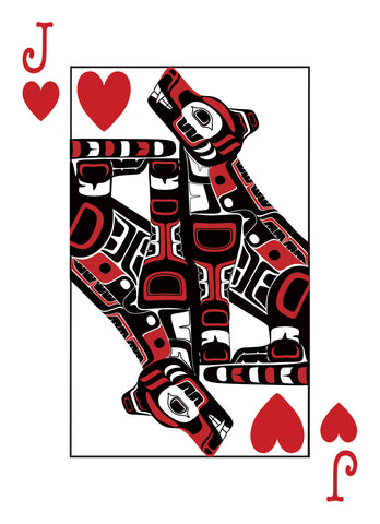 Northwest Native Style Wolf. Jack of Hearts Playing Card.  Haida, Tlingit, Salish Style