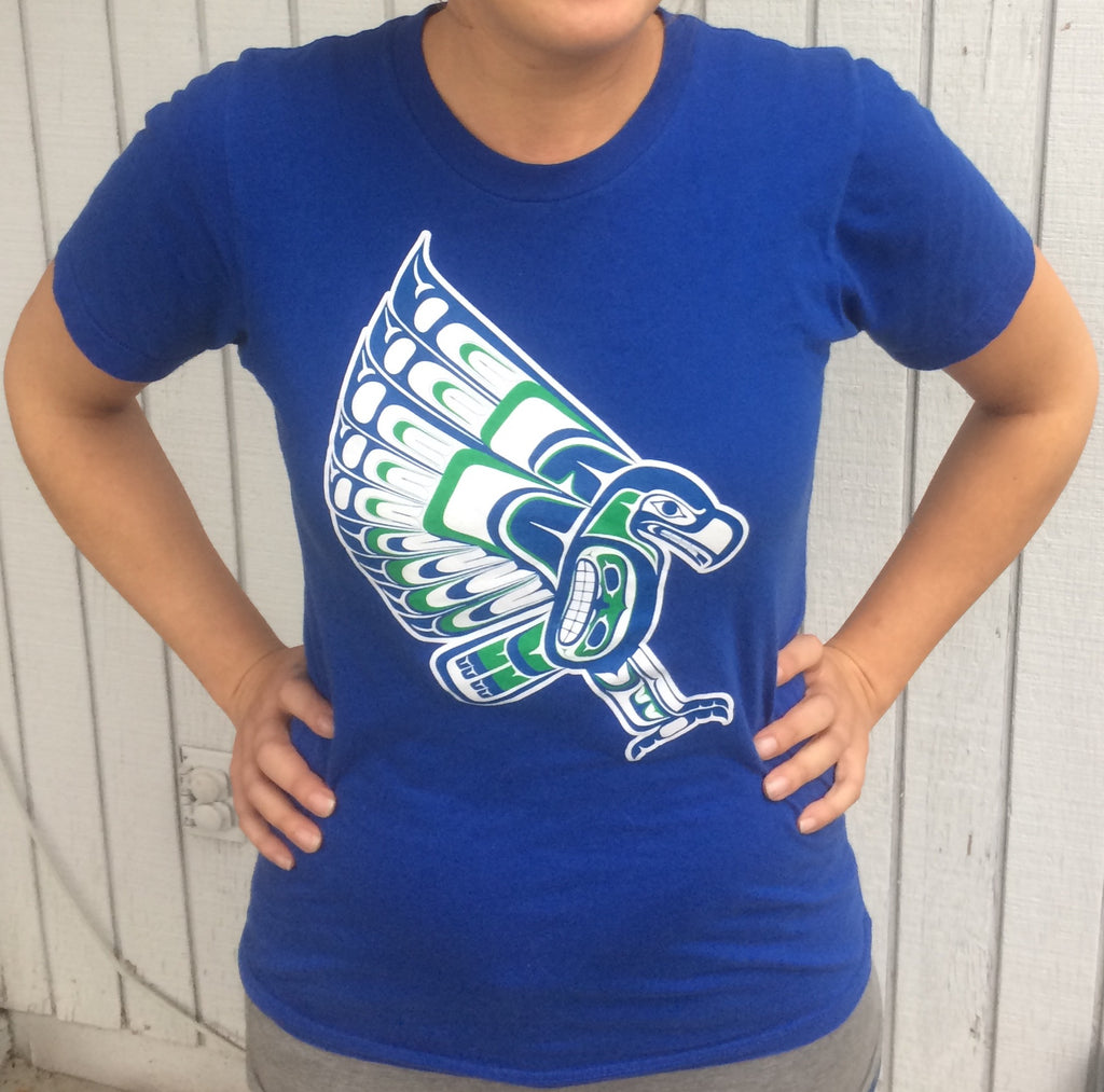 Native Style Seahawk. Tribal Coast Salish Haida inspired Seahawk Women's T Shirt