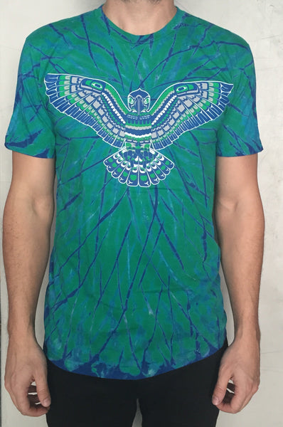Limited Edition  Native Seahawks Tie Dye T Shirt  Haida Salish Style