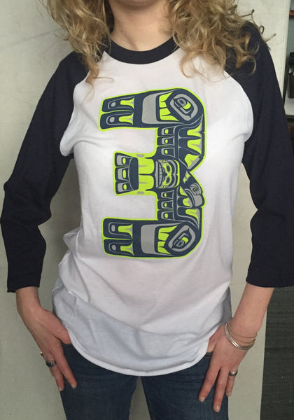Tribal #3 Native Style Russel Wilson Jersey 3/4 Length Sleeves