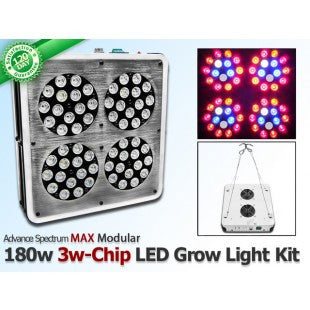 180 Watt Advanced Spectrum MAX Modular 3w-Chip LED Grow Light Kit