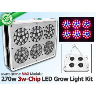 270 Watt Advanced Spectrum MAX 3w-Chip Modular LED Grow Light Kit