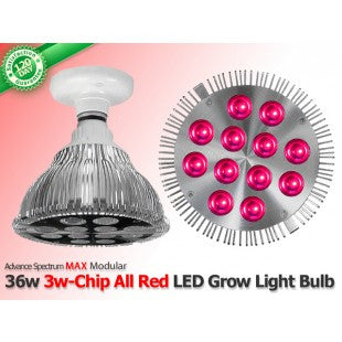 36 Watt Advanced Spectrum MAX ALL RED 3w-Chip LED Grow Bulb