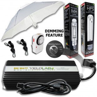 Yield Lab 600w HPS+MH Umbrella Reflector Digital Grow Light Kit