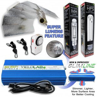 Yield Lab 600w HPS+MH Wing Reflector Digital Grow Light Kit