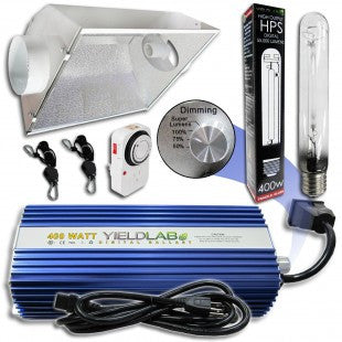 Yield Lab 400w HPS Air Cool Hood Reflector Grow Light Kit