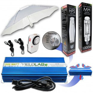 Yield Lab 1000w HPS+MH Umbrella Reflector Grow Light Kit