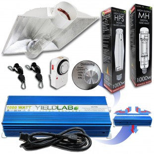 Yield Lab 1000w HPS+MH Cool Tube Hood Reflector Grow Light Kit