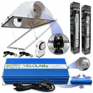 Yield Lab Professional Series 600W Air Cool Hood Double Ended Complete Grow Light Kit
