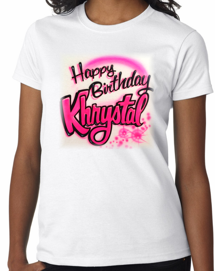 Airbrushed Birthday Name Shirt Aim To Tees Custom Shirts Png 719x903 Neon Airbrush Design