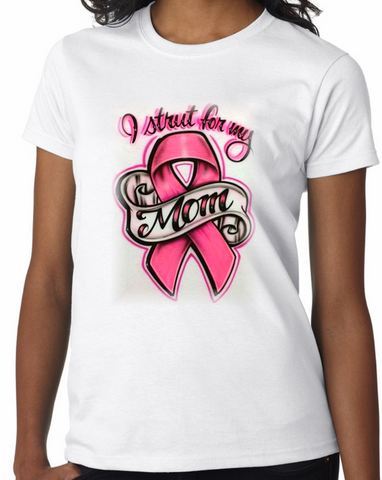 Airbrushed cancer ribbon shirt aim to tees custom t shirts for Custom made airbrushed shirts