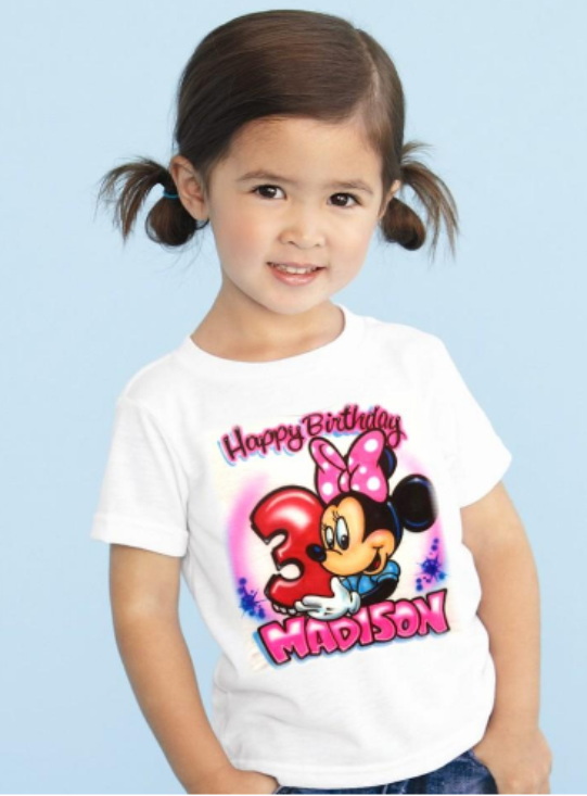 Airbrushed Character Birthday Shirt Aim To Tees Custom T Shirts
