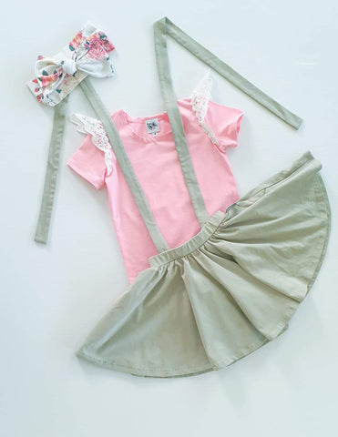 Khaki 2 in 1 Suspender/Twirly Skirt