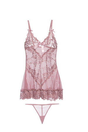 Valentine Soft Cup Lace Babydoll and g-string
