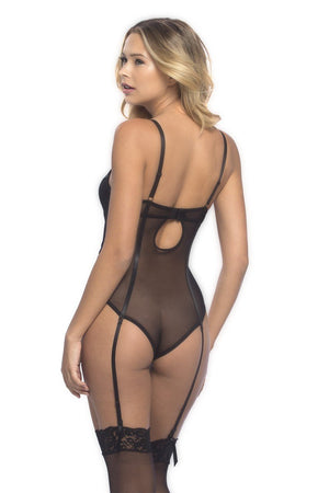 Aurore Mesh teddy with garters
