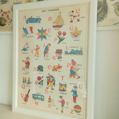 Cavallini III ABCs French Chart Vintage Style Art Poster