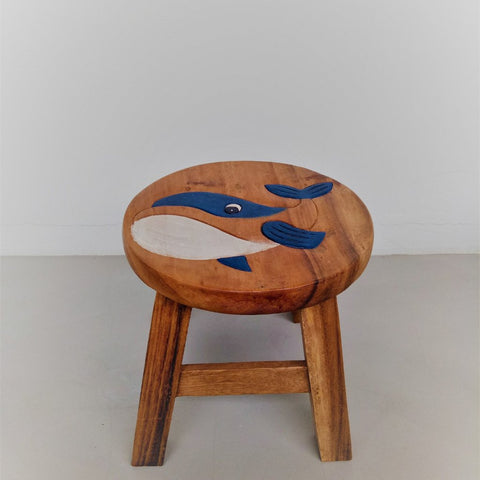 Children wooden stool (Blue Whale)