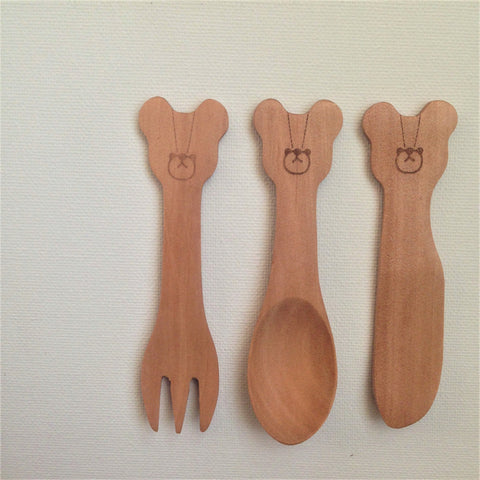 Wood Goldilocks & The Three Bears Cutlery Set of 3