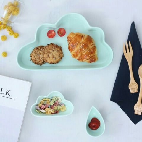 Cloud Breakfast Plate 3 Pc Set (Mint)