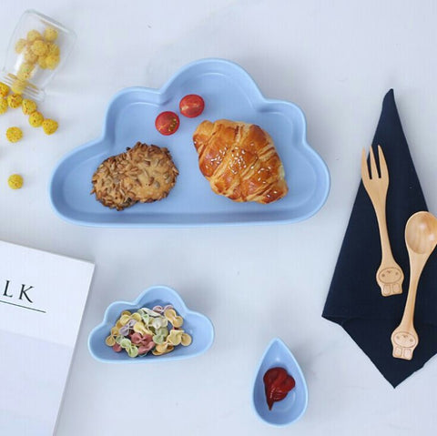 Cloud Breakfast Plate 3 Pc Set (Blue)