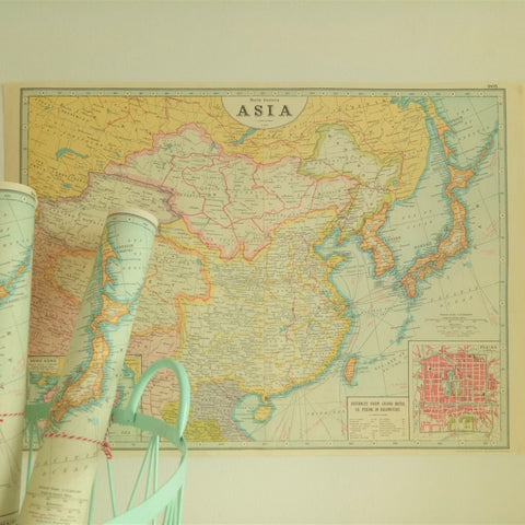Cavallini VI World Map Northern Asia Poster – chair-ish the moments