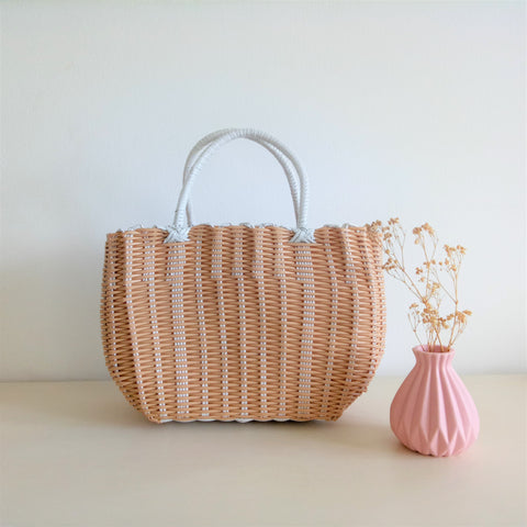 Imitation Rattan Hand Basket - Medium Natural