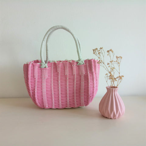 Imitation Rattan Hand Basket - Small Pink