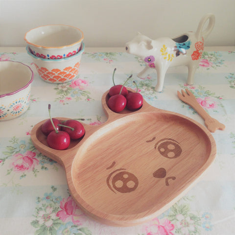 Wooden Sad Bunny Plate