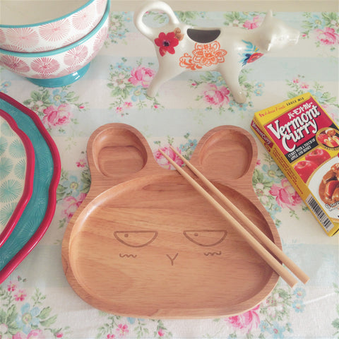 Wooden Angry Bunny Plate