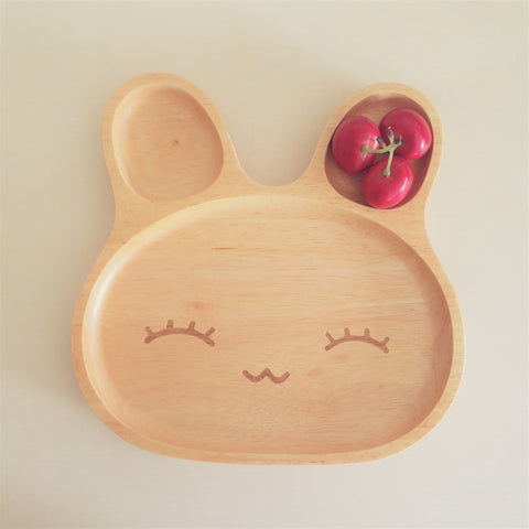 Wooden Happy Bunny Plate